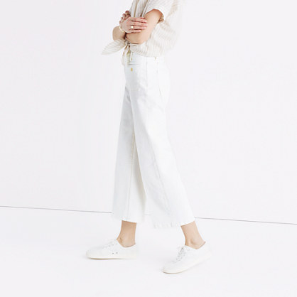 Tall Wide-Leg Crop Jeans in Ecru: Welt Pocket Edition