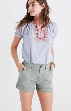 Garment-Dyed Cutoff Shorts