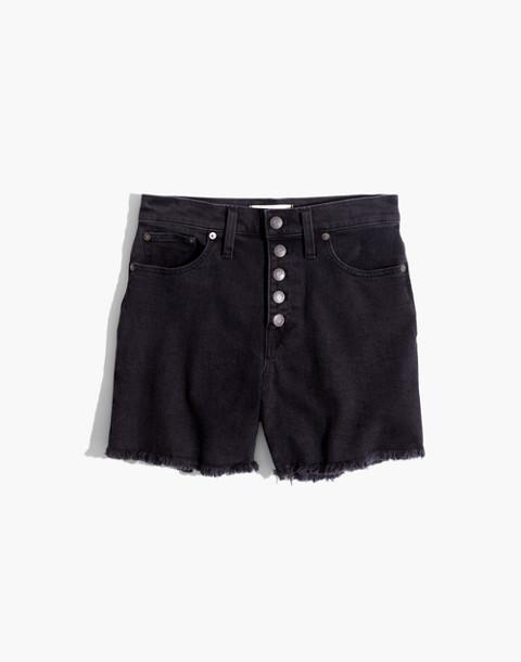 High-Rise Denim Boyshorts in Faded Black: Button-Through Edition in lunar wash image 4