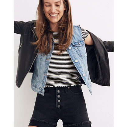 High-Rise Denim Boyshorts in Faded Black: Button-Through Edition