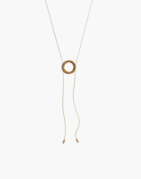 Sliding Ring Bolo Necklace in gold ox image 1