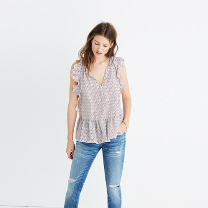 Silk Lily Ruffle Top in Echo Grid