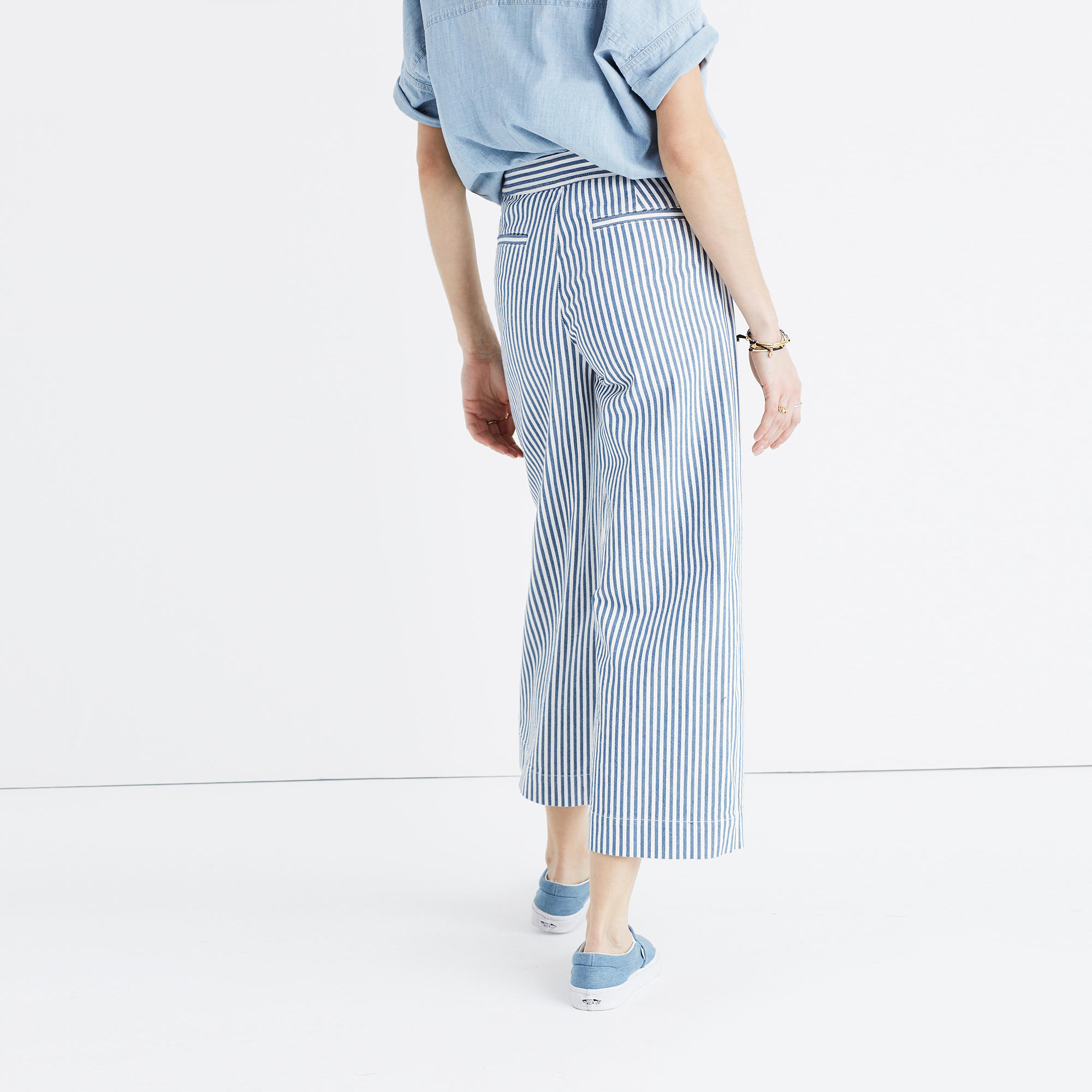 Sale Clearance Clearance Low Price Cropped Striped Wide-leg Jeans - Blue Madewell Discount Very Cheap GGcKaF