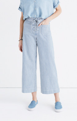 Lace-Up Wide-Leg Crop Pants in Poppy Stripe