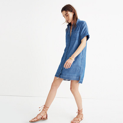Denim Drop-Hem Shirtdress