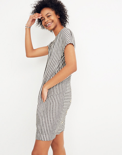 Stripe-Play Button-Back Tee Dress in warm nutmag image 2