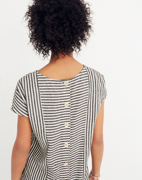 Stripe-Play Button-Back Tee Dress in warm nutmag image 3