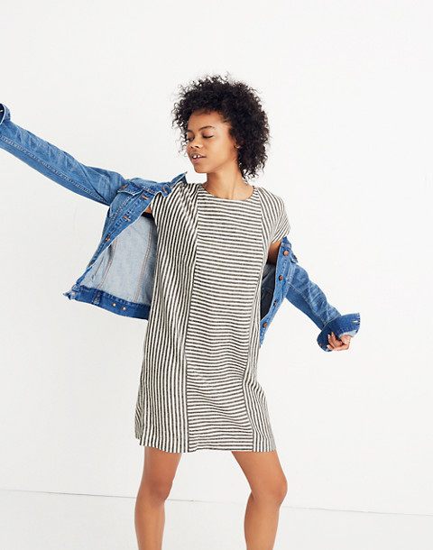 Stripe-Play Button-Back Tee Dress in warm nutmag image 1