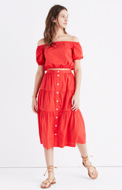Bistro Midi Skirt in True Red
