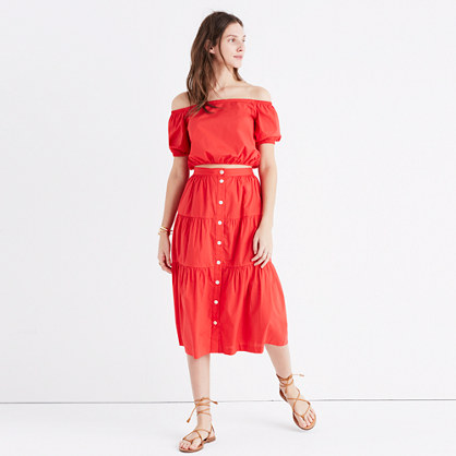 Bistro Midi Skirt in True Red