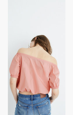 Off-the-Shoulder Bubble Top in Weathered Pink