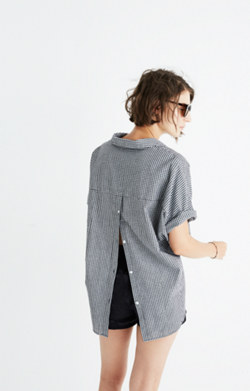 Courier Button-Back Shirt in Gingham Check
