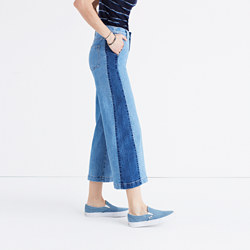 Tall Wide-Leg Crop Jeans in Ellendale: Pieced Edition