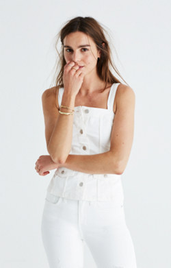 White Denim Button-Front Top