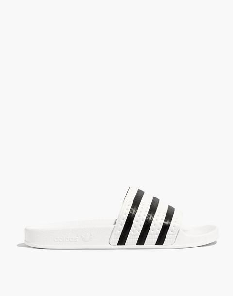 Adidas® Unisex Adilette® Slides in white black image 3
