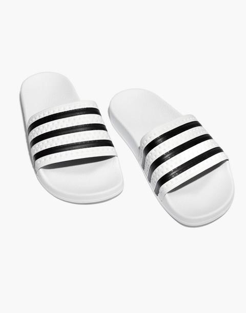 Adidas® Unisex Adilette® Slides in white black image 1