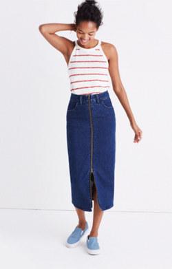 Denim Zip-Front Midi Skirt