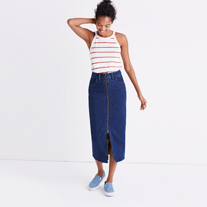 Denim Zip-Front Midi Skirt