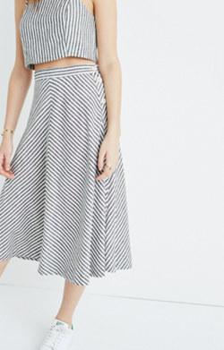Side-Button Midi Skirt in Rhoda Stripe