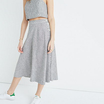 Side-Button Midi Skirt in Rhoda Stripe