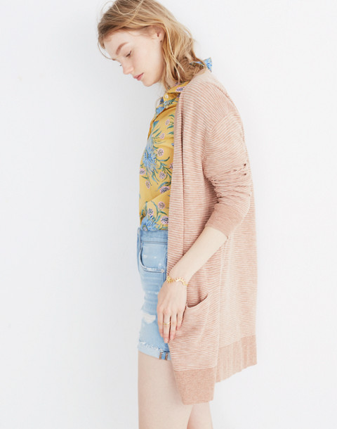 Summer Ryder Cardigan Sweater in Stripe in heather blush image 1