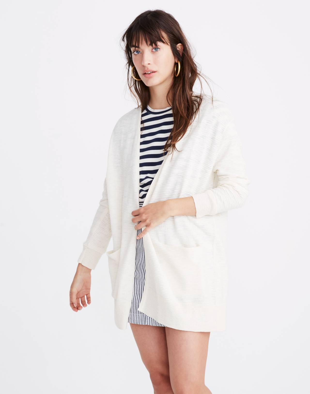 Summer Ryder Cardigan Sweater in Stripe in pearl ivory image 1