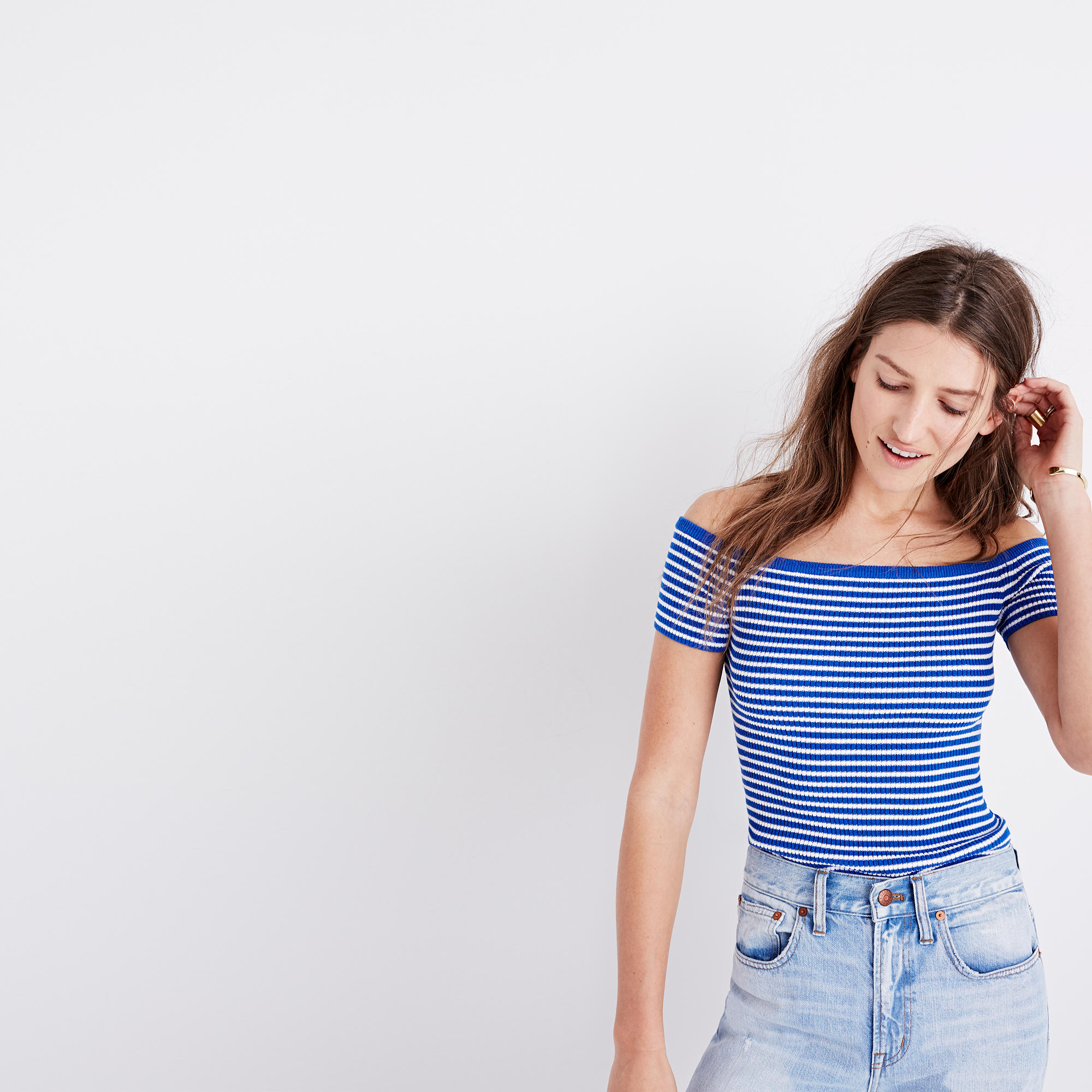 Off-the-Shoulder Sweater in Stripe : sleeveless & short sleeve ...