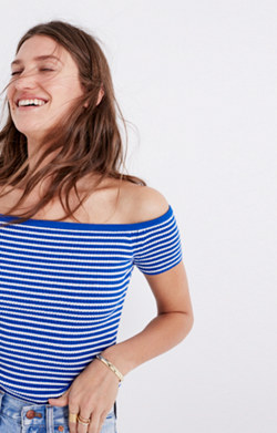 Off-the-Shoulder Sweater in Stripe