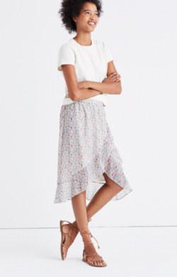 Ruffle-Wrap Midi Skirt in Shadowpetal