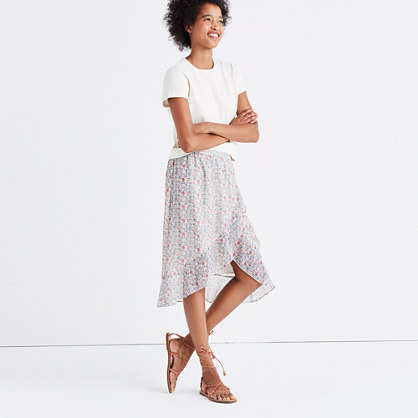 Ruffle-Wrap Midi Skirt in Shadowpetal