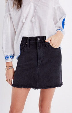 McCarren Raw-Hem Jean Skirt in Washed Black