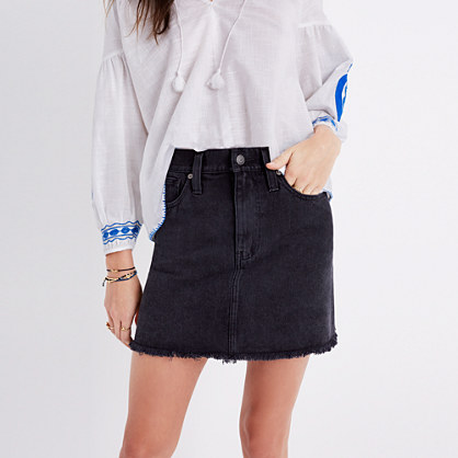 McCarren Raw-Hem Jean Skirt in Washed Black