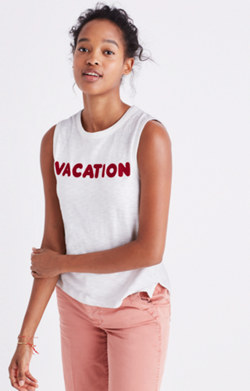 Embroidered Vacation Tank Top