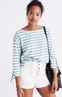 Striped Tie-Sleeve Tee