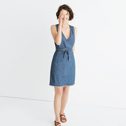 Denim Raw-Hem Wrap Dress