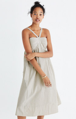 Convertible Halter Dress in Chambray Stripe