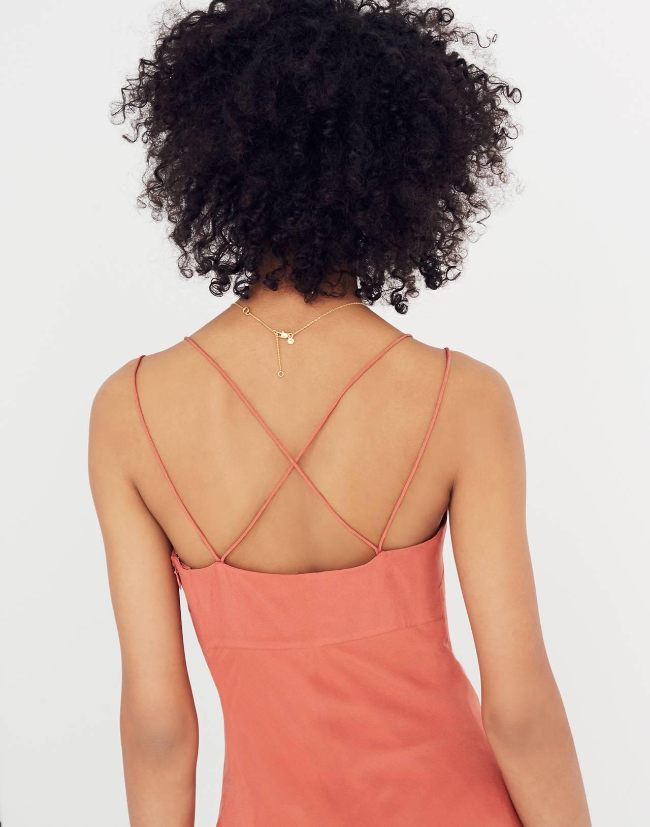 Silk Slip Dress in spiced rose image 2