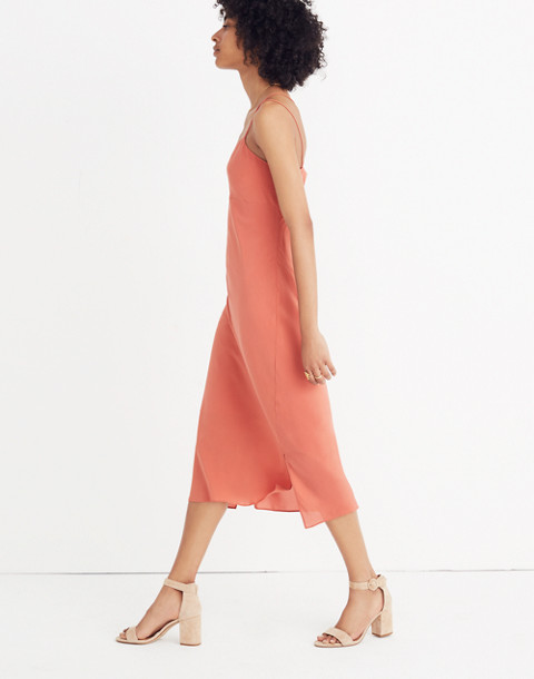 Silk Slip Dress in spiced rose image 3