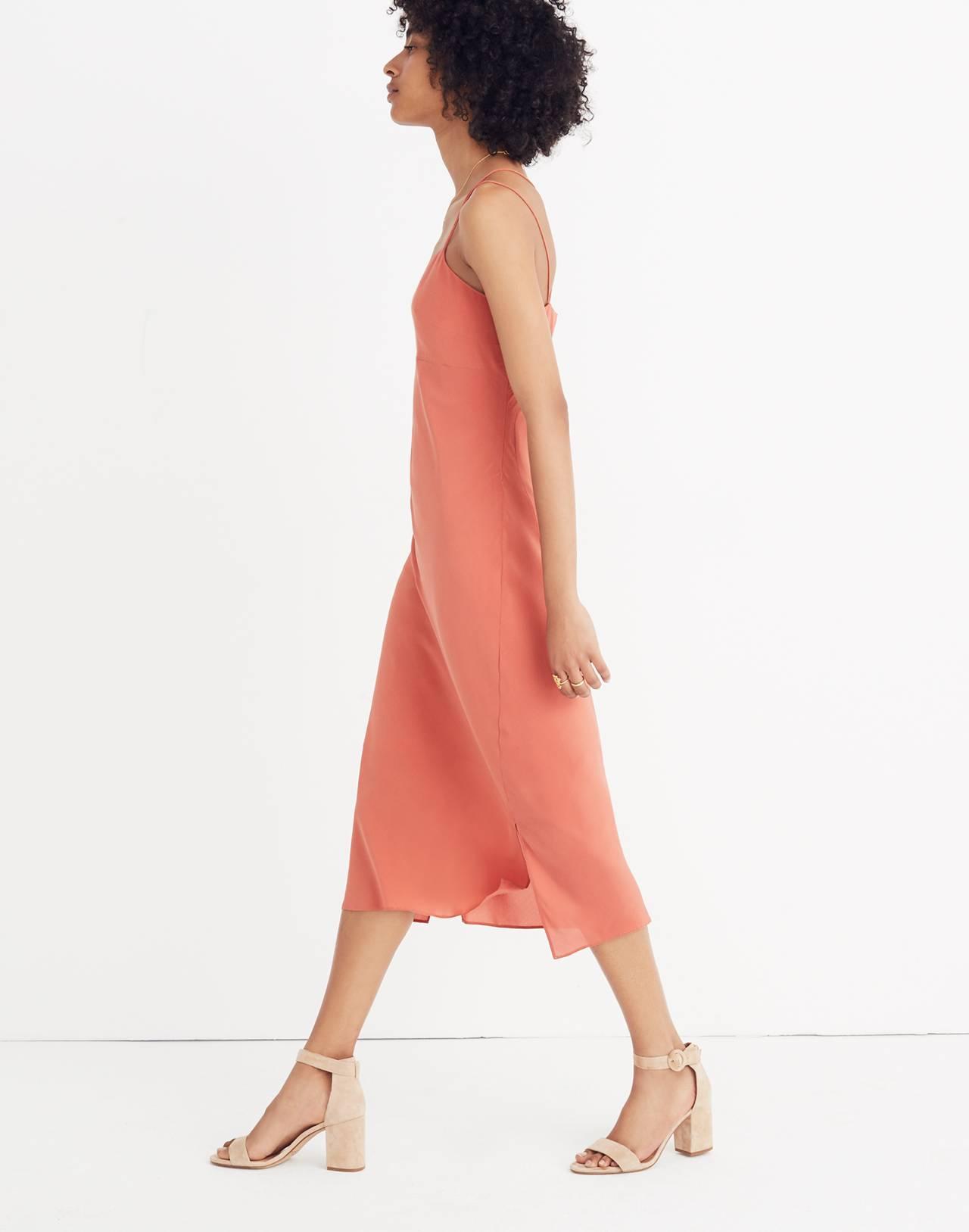 Silk Slip Dress in spiced rose image 3