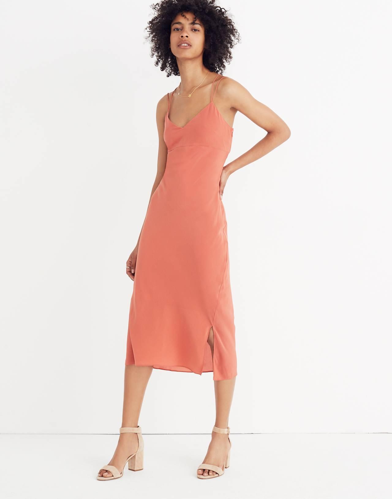 Silk Slip Dress in spiced rose image 1