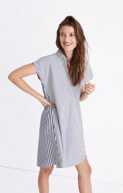 Stripe-Mix Shirtdress