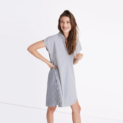 Stripe-Mix Shirtdress