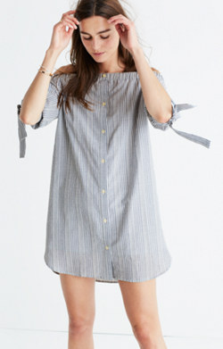 Striped Off-the-Shoulder Shirtdress