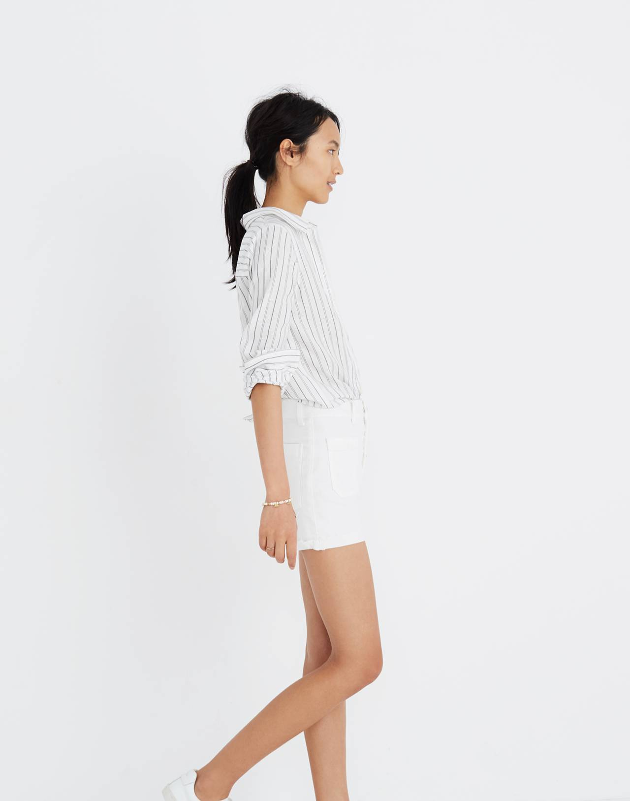 High-Rise Denim Boyshorts in Tile White: Button-Through Edition in tile white image 2
