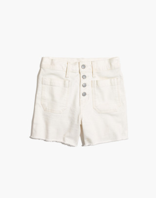 High-Rise Denim Boyshorts in Tile White: Button-Through Edition
