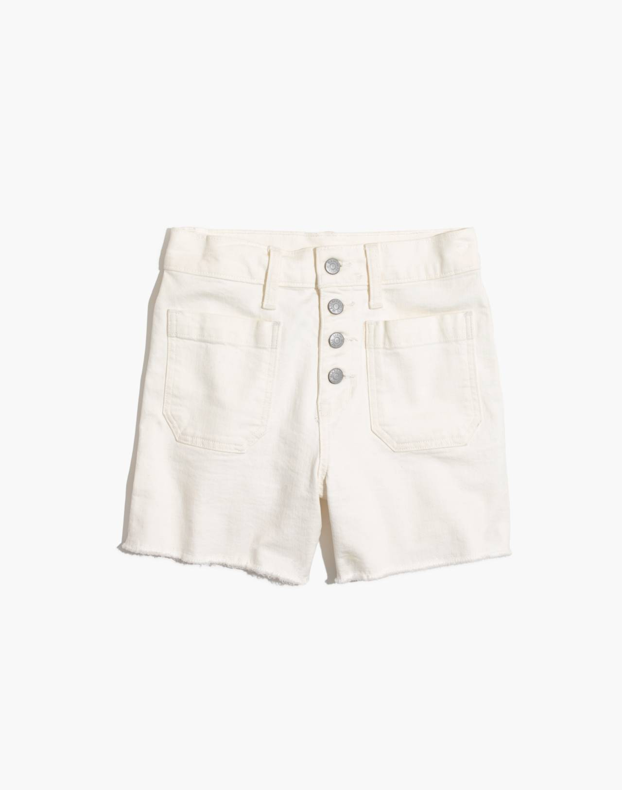 High-Rise Denim Boyshorts in Tile White: Button-Through Edition in tile white image 4