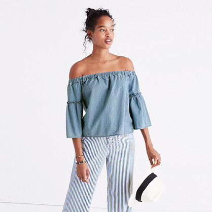 Denim Azalea Off-the-Shoulder Top