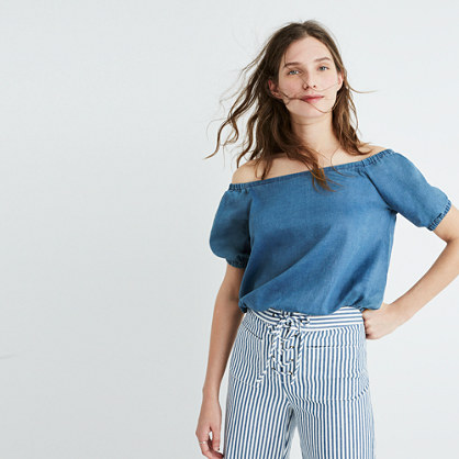 Indigo Off-the-Shoulder Bubble Top