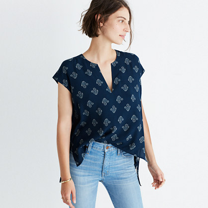 Skylight Side-Tie Top in Flowerstamp