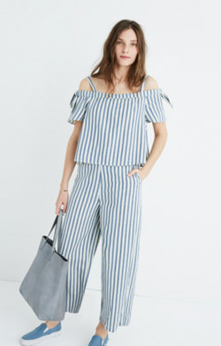 Striped Cold-Shoulder Jumpsuit
